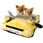 This taxi bed is fun and cute for dogs on the go.