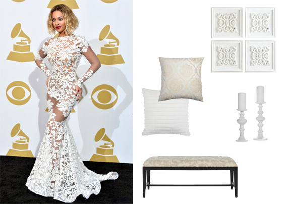Beyonce Wall Art: Horchow Bench: Safavieh Pillows + Candle Holders: Z Gallerie