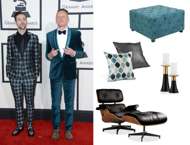 Macklemore & Ryan Lewis Ottoman: Lamps Plus Candle Holders: Z Gallerie Eames Chair and Pillows: Room & Board