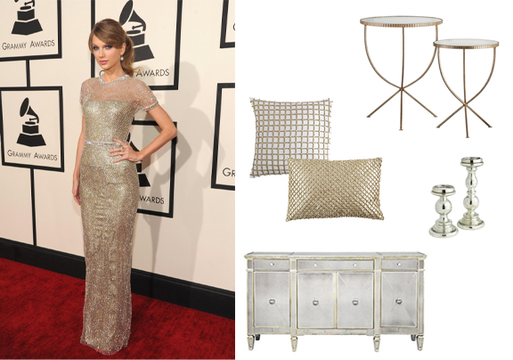 Taylor Swift Accent Tables: Crate & Barrel Pillows & Candle Holders: Pier1 Imports Buffet Cabinet: Z Gallerie