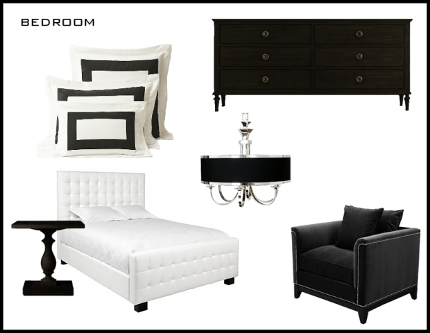 Bed, Accent Chair + Lighting: Z Gallerie Dresser, Bedding + Nightstand: Restoration Hardware