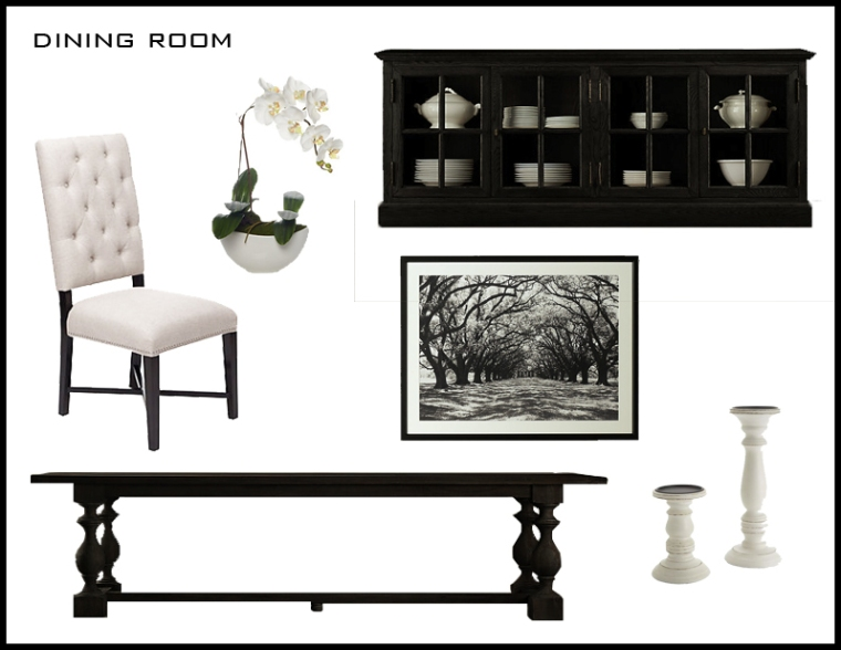 Table, Buffet + Artwork: Restoration Hardware Chairs + Plant: Z Gallerie Candle Holders: Pier1