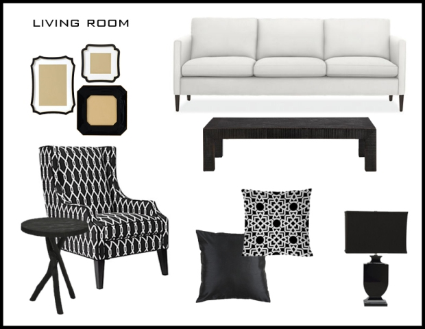 Couch: Room & Board Chair + Picture Frames: Z Gallerie Coffee Table: Crate & Barrel  Accent Table + Lamp: Safavieh Pillows: Lamps Plus