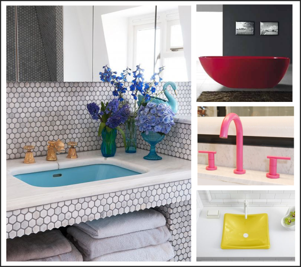 "Image Sources: Pinterest Sinks: Johnathan Adler for Kohler Faucet: Powder coated in Benjamin Moore's ""Razzle Dazzle"" Tub: ADM Matte Red Stand Alone Resin Bathtub"