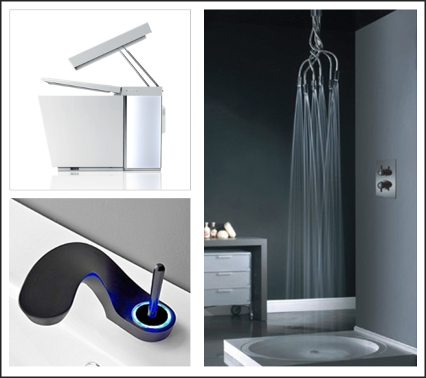 "Image Sources: Pinterest Toilet: Kohler ""Numi"" Shower Head: Visentin ""Spider"" Faucet: Graff ""Ametis"""